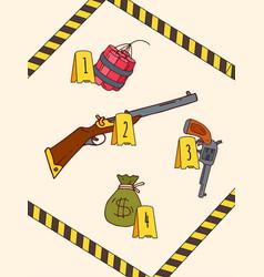 Militia surround crime scene dangerous item vector