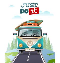 Minibus journey travel background vector