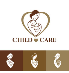 Mother and child logo design vector
