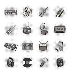 Music black comics icons vector