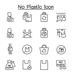 no plastic bag icons set in thin line style vector image