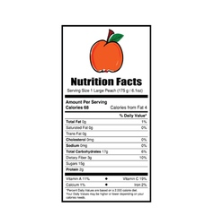 nutrition facts peach vector image