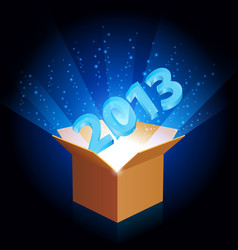 open cardboard box with twenty-thirteen the new vector image