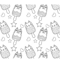 Outline kawaii cats ice lollies background vector