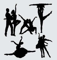 performance couple ballet silhouette vector image