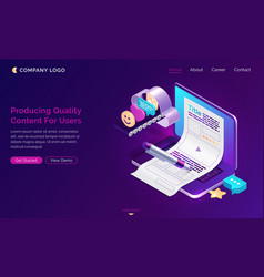 production quality content for users isometric vector image