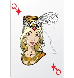 Queen of diamonds Deck romantic graphics cards vector image