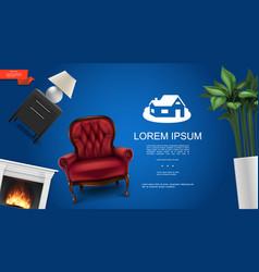 realistic classic interior elements concept vector image