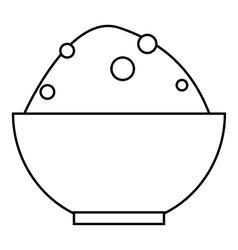 Rice in bowl icon outline style vector