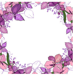 Romantic frame with orchids blank square template vector