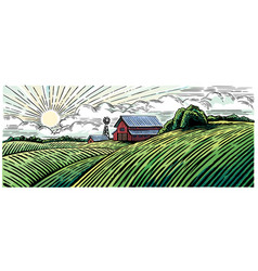 rural landscape with a farm in engraving style vector image