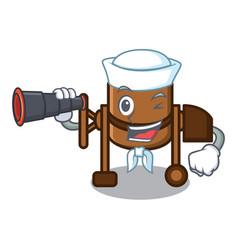 Sailor with binocular concrete mixer mascot vector