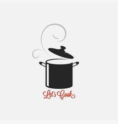 saucepan logo lets cook vintage lettering white vector image