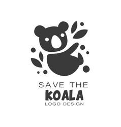 save the koala logo design protection of wild vector image