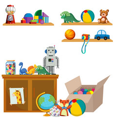 scene of toys on shelves and cupboard vector image