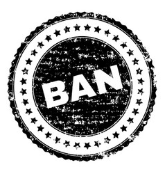 scratched textured ban stamp seal vector image