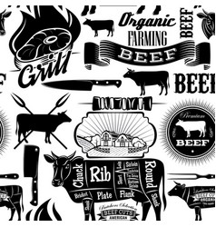 Seamless background cow meat butcher shop vector