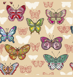 seamless pattern with colorful flying butterflies vector image