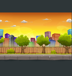 Seamless street city landscape for game ui vector