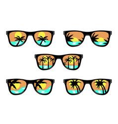 Set beach sunglasses vector