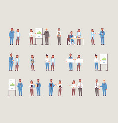 set businesspeople in different working situations vector image