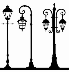 set lanterns silhouettes vector image