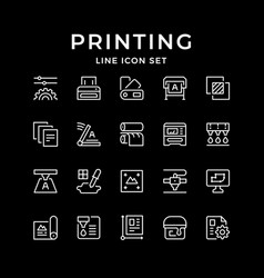 set line icons print vector image
