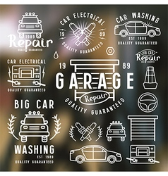 Set of car repair badges and design elements vector