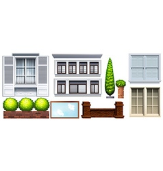Set of different buildings and fences vector image