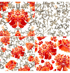 set seamless patterns with red flowers and vector image