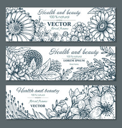 set three horizontal banners with beautiful vector image