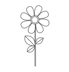Silhouette sketch daysi flower with leaves and vector