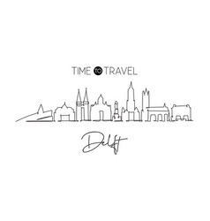 single continuous line drawing delft city vector image