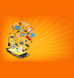 Smartphone online shopping with shopping object vector