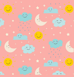 Smiling cute clouds pattern background vector