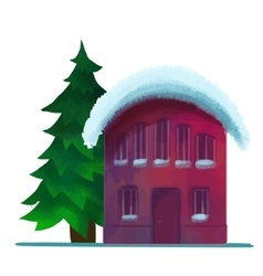 Snow-covered brick house in the winter vector