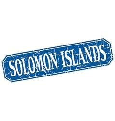 Solomon Islands blue square grunge retro style vector