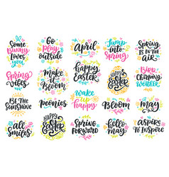 Spring and easter modern calligraphy quotes set vector