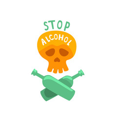 Stop alcohol bad habit alcoholism concept with a vector