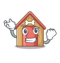 successful cartoon dog house and bone isolated vector image
