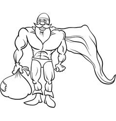 super hero santa coloring page vector image