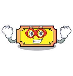 super hero ticket character cartoon style vector image