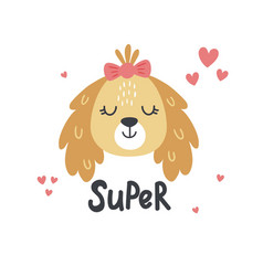 super text lettering and a cute dog vector image