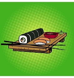 Sushi rolls pop art style vector