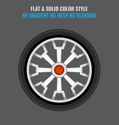 Tire icon with flat and solid color style vector
