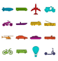 transportation icons doodle set vector image