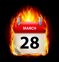 twenty-eighth march in calendar burning icon on vector image