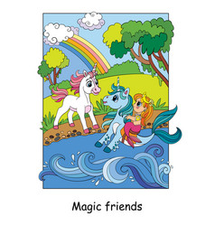 Unicorn met a mermaid on a seahorse vector