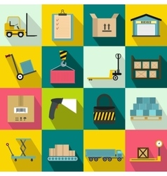 Warehouse logistic storage icons set vector image