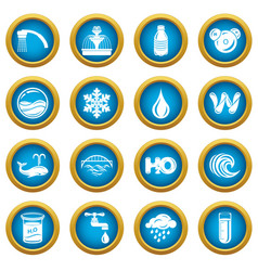 Water icons set simple style vector
